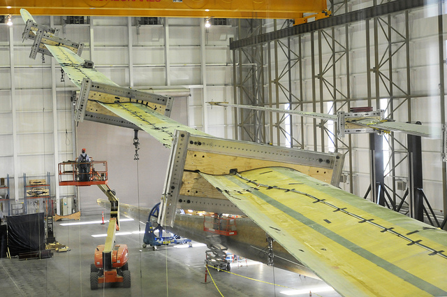A blade is tested at the Wind Technology Testing Center in Charlestown
